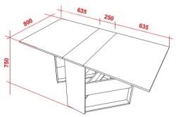 Чертеж стола с основными размерами
