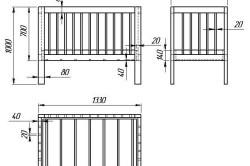 Чертеж стационарной детской кроватки