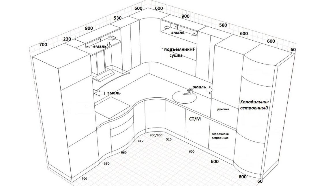 Как сделать кухонный гарнитур и его схема 920