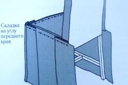 Схема скрепления чехла булавками