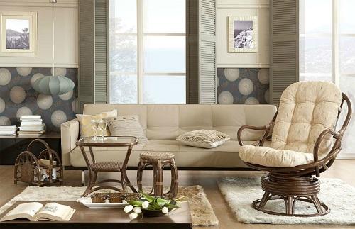 Кресло-качалка в интерьере гостиной