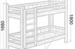 Схема кровати с общими габаритами конструкции