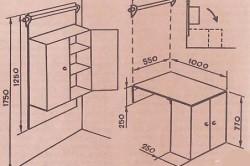 Схема откидного стола-шкафа