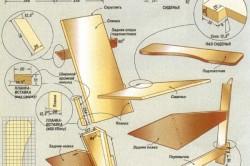 Чертеж кресла с деталировкой, схемой сборки и основными узлами соединения деталей