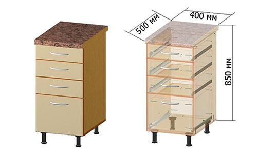 Схематичное изображение тумбы с выдвижными ящиками