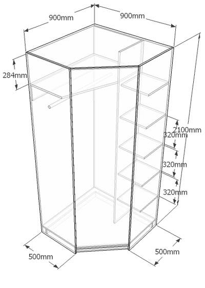 Чертеж углового шкафа: