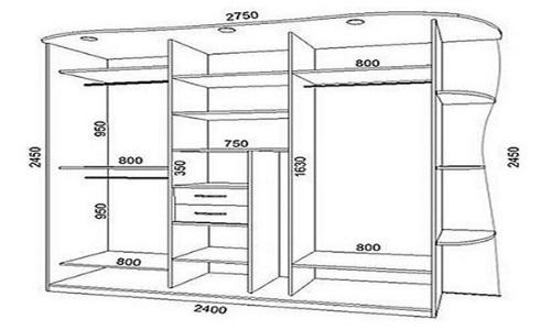 Чертеж встроенного шкафа