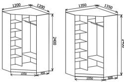 Чертеж углового шкафа купе с размерами
