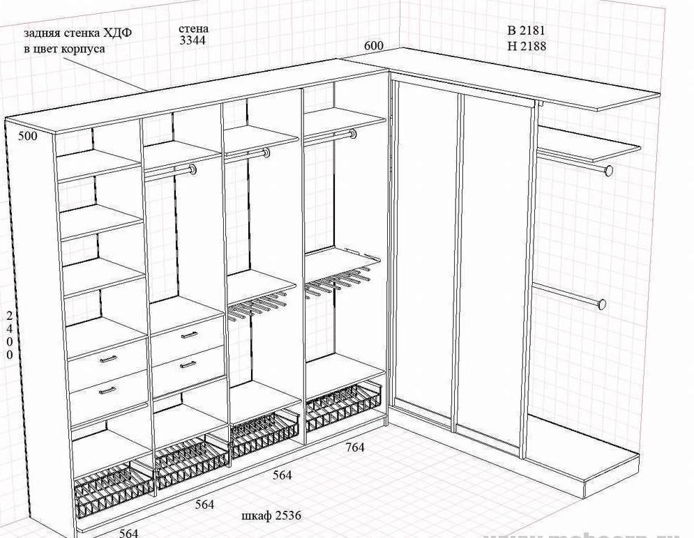 чертеж шкафа первый этап изготовления мебели своими руками