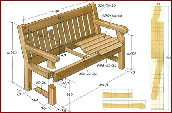 Садовая скамейка своими руками чертежи фото 834